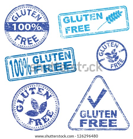 Gluten free food. Rubber stamp illustrations