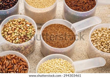 gluten free grains (quinoa, brown rice, kaniwa, amaranth, sorghum, millet, buckwheat, teff) - measuring scoops on a rustic barn wood #294303461