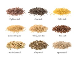 Gluten free seeds isolated on a white background