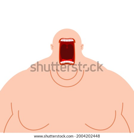 Glutton hungry. Fat man open mouth. fatso heavy eater Stock photo ©