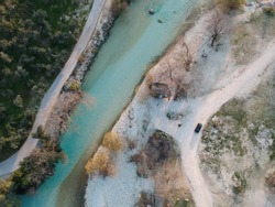 Glyki Acheron River, springs, famous watersport activities, rafting, zipline, aerial view, paradise destination for tourism on spring and summer close to historical souli, paramythia epirus Greece
