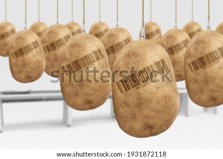 GMO FOOD Genetically modified food concept. Potatoes artificially produced in laboratory with hormones. With barcode (fake barcode). Stock photo ©