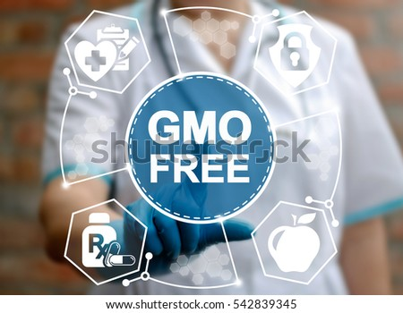 GMO free food health care medicine concept. Genetically modified foods healthy nutrition and cholesterol diet vision. Non gmo meal medical safety treatment stop oncology genetic diseases technology #542839345