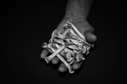 Gnawed bones in a man's hand, a blurry, black-and-white photograph, a low key. Concept: poverty and misery.