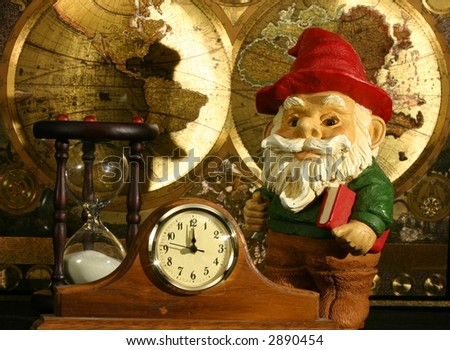 Gnome with book, world map, hourglass, and clock