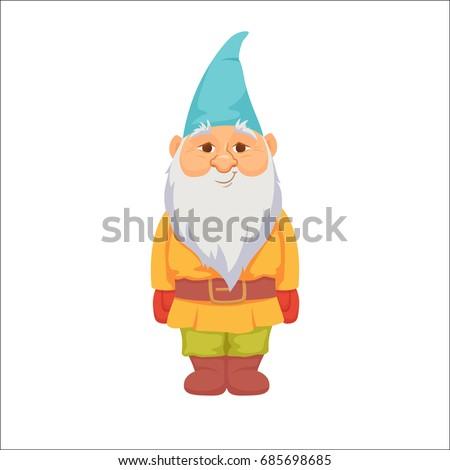 Gnomes. Funny dwarf. Fairy tale. Fantastic character set. Magical stories clip art. Cute garden decorations