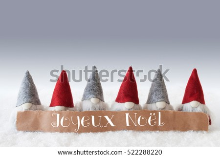 Gnomes, Green Background, Joyeux Noel Means Merry Christmas #522288220