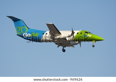 Plane   on Go Air Propeller Plane Landing With It S Gear Down  Stock Photo 969626