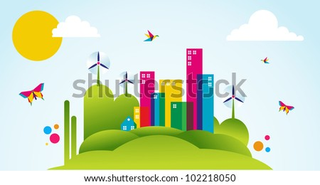 Go green city in spring time. Industry sustainable development with environmental conservation background illustration. Vector file layered for easy manipulation and custom coloring.