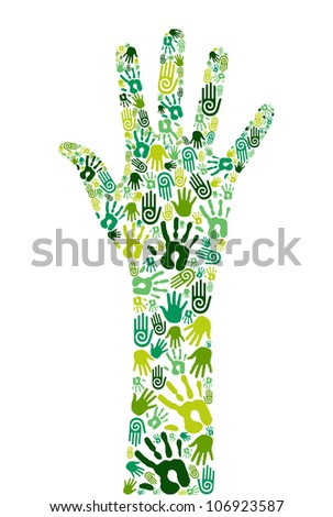 Go green concept: human hands icons composition isolated over white background.