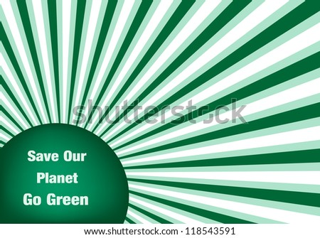 Go green conceptual abstract background symbolizing the move to an eco friendly green planet. Vector version also available.