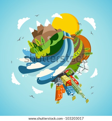 Go green energy Earth globe. Global sustainable development concept background illustration.