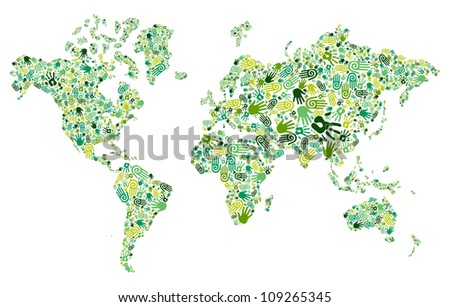 Go green human hands icons in World map composition background.