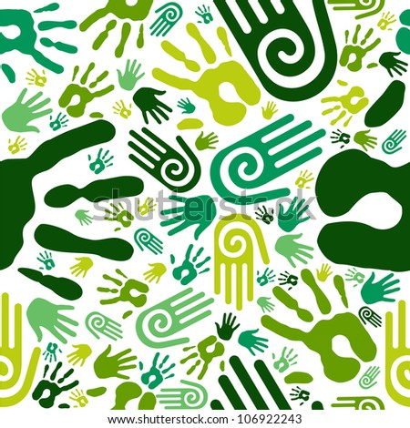 Go green human hands icons seamless pattern background.