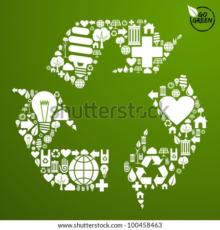 Go green icons set in recycle symbol shape background.