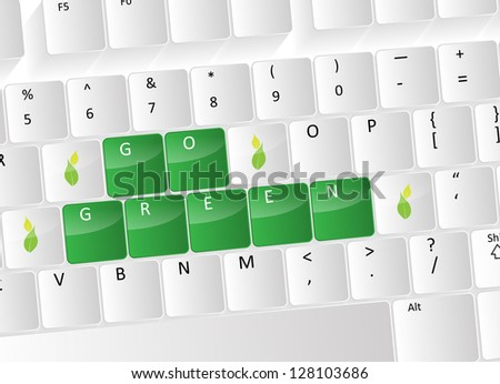 Go green Keyboard Concept with green buttons and leafs.