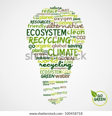 Go Green. Light bulb with words cloud about environmental conservation. - stock photo
