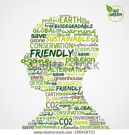 Go Green. Man head with words cloud about environmental conservation.