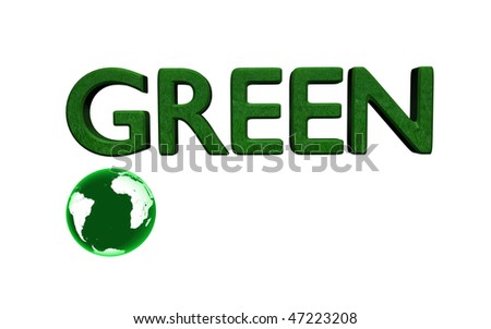 Go Green message with 3D globe.