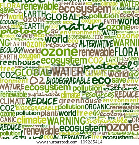 Go green text cloud about environmental conservation pattern background.