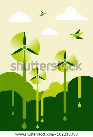 Go green with-turbine park background illustration. Sustainable development concept. Vector file layered for easy manipulation and custom coloring. - stock photo