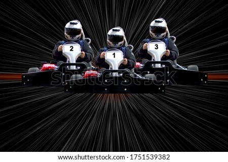 go kart indoor, cart racing fast, car where gokarting, we speed racing, racers banner. Copy space. Three riders Go kart speed rive indoor race on a background with white rays. Photo stock ©