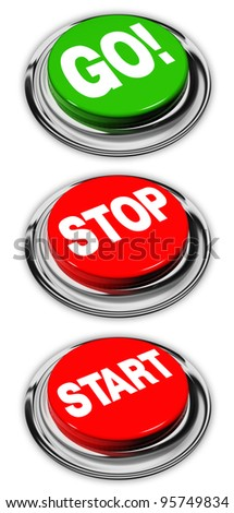 go, stop and start buttons, isolated over white