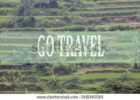 Go travel concept with Bali's landscape background.