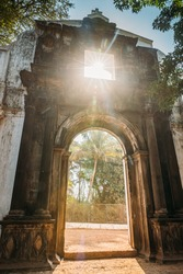 Goa Velha, India. Old St. Paul's College Gate. Famous Landmark And Historical Heritage. St. Paul's College Was A Jesuit School, And Later College, Founded Circa 1542 By Saint Francis Xavier