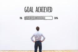 goal achieved progress loading bar, concept of achievement process