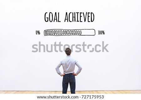 goal achieved progress loading bar, concept of achievement process