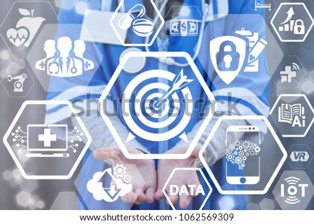 Goal and Purpose Medical Information Technology Integrate concept. Modern Successful Development Medicine. Medic offers target with arrow icon on a virtual interface. ストックフォト ©