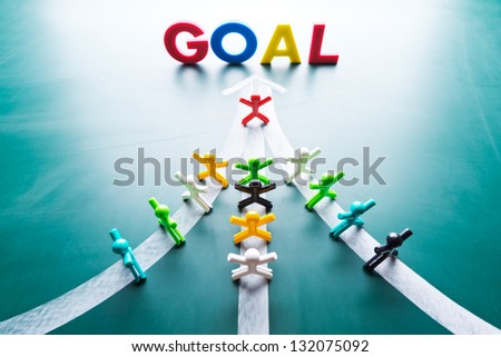 Goal and Teamwork concept, group of people with the same goal