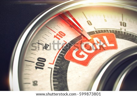 Goal - Caption on the Conceptual Gauge with Red Needle. 3D.