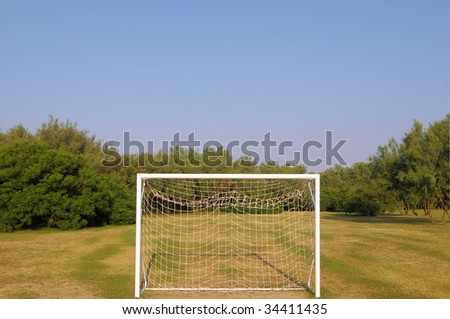 Goal in an outdoor soccer door in a playing area