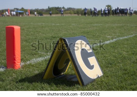 Goal line marker on a football field