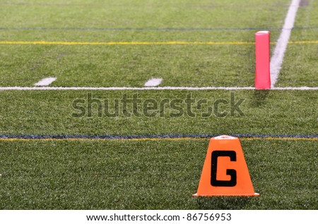 Goal Line on American Football Field at Night