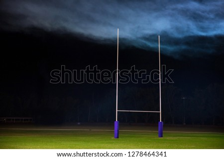 Goal post for rugby or American football. Super bowl concept photo, edit space #1278464341