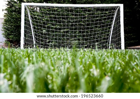Goal post on green grass football playground viewed from ground level