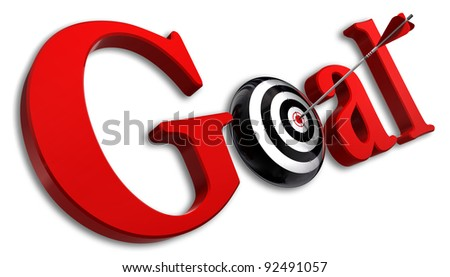 goal red word and conceptual target with arrow on white background