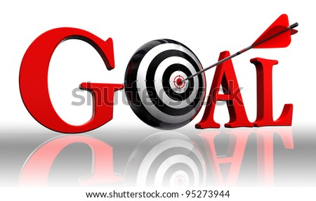 goal red word and conceptual target with arrow on white background clipping path included - stock photo