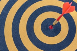 Goal setting and SMART, Dart target arrow hitting on bullseye in dartboard, Business accuracy success concept
