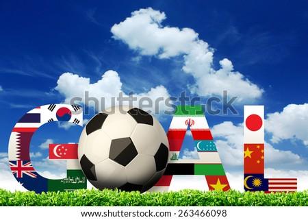 Goal. soccer asian flags #263466098
