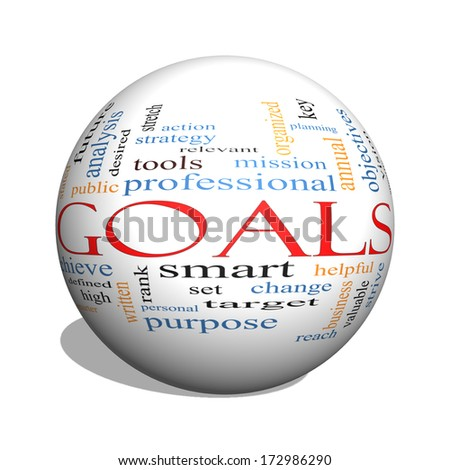 Goals 3D sphere Word Cloud Concept with great terms such as planning, missions, smart, set, high and more.