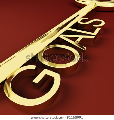 Goals Gold Key Representing Aspirations And Intent