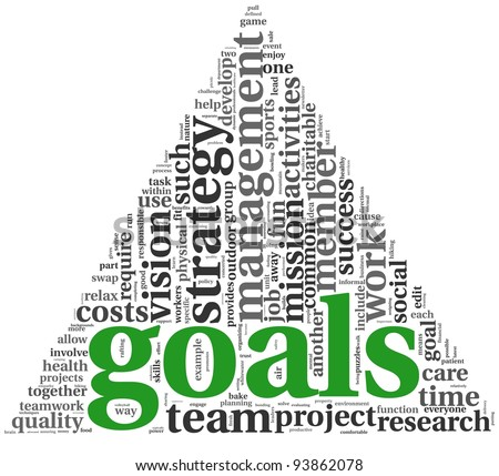 Goals in project and management concept in word tag cloud on white background