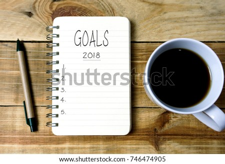 Goals 2018 on written on notepad  #746474905