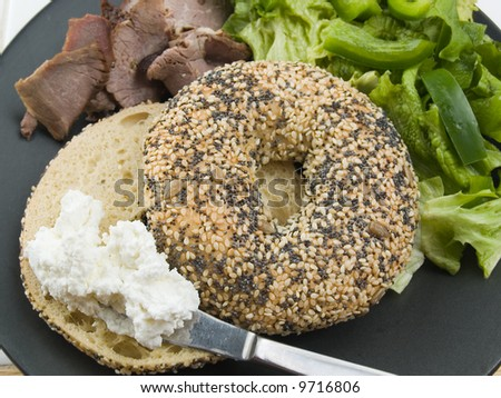 Goat cheese, bagel and brisket