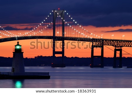 Goat Island Lighthouse at Sunset with Claiborne Pell Bridge in Background Horizontal