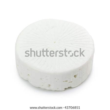 Goat milk cheese  isolated on white background
